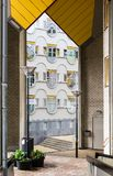 Vista alle finestre di Blaaktoren, anche conosciute dal Het Potlood di soprannome la matita da immagine stock libera da diritti