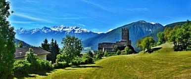 Vista Alpe-panoramica italiana sul castello Principo Fotografia Stock Libera da Diritti