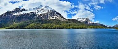 Vista Alpe-panoramica svizzera del lago di Sils Immagini Stock Libere da Diritti