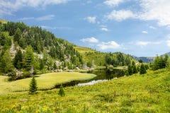 Vista alpina del lago durante l'estate alla strada Nockalmstraße, alta strada alpina di Nockalm di Grossglockner in Carinzia, Au Fotografia Stock Libera da Diritti