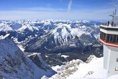 Vista alpina di Zugspitze Fotografie Stock Libere da Diritti