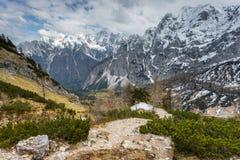Vista alpina nelle vicinanze del passaggio Vrsic Immagine Stock Libera da Diritti