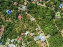 Vista alta aérea da cidade e do rio, skyline Imagens de Stock Royalty Free