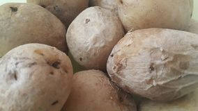 vista alta vicina della patata organica fresca nel mercato: struttura del fondo delle patate immagini stock