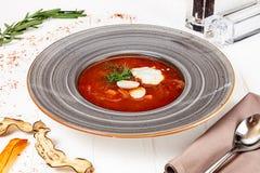 Vista alta vicina su borscht ucraino tradizionale fotografia stock libera da diritti