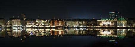 Vista Amburgo, Germania di panorama Fotografie Stock Libere da Diritti