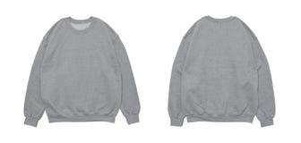 Vista anteriore e posteriore del modello grigio di colore in bianco della maglietta felpata Fotografia Stock