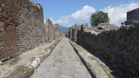 Vista antica della via di Pompei di civilizzazione in Italia Fotografia Stock Libera da Diritti