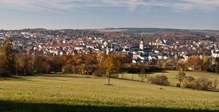 Vista ao dia agradável do outono do durng da cidade de Plauen Imagem de Stock