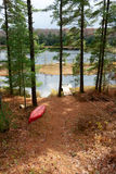 Vista ao lago através das árvores Imagem de Stock Royalty Free