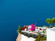 Vista ao mar da vila de Oia da ilha de Santorini em Grécia Fotografia de Stock