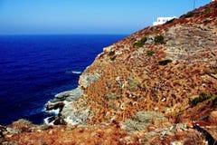 Vista ao Mar Egeu da vila de Kastro, ilha de Sifnos, Grécia imagens de stock royalty free