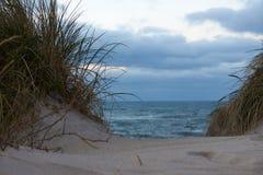 Vista ao Northsea das dunas em Vorupor, Dinamarca Foto de Stock Royalty Free