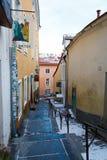 Vista ao pé curto velho famoso de Luhike Jalg da rua da cidade Fotografia de Stock Royalty Free