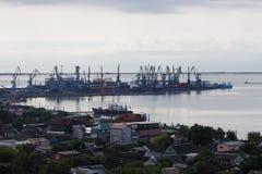 Vista ao porto de Berdyansk Foto de Stock Royalty Free