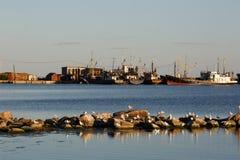 Vista ao porto de Berdyansk Imagem de Stock