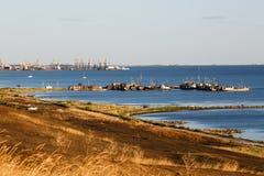 Vista ao porto de Berdyansk Fotografia de Stock Royalty Free