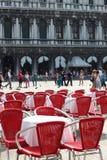 Vista ao quadrado de San Marco do restaurante em Veneza Imagens de Stock Royalty Free