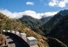 Vista ao sul da passagem Boca da Encumeada em Madeira Fotografia de Stock Royalty Free