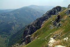 Vista ao sul das ameias do castelo do cruzado de Beaufort, província de Nabatieh, Líbano Fotografia de Stock