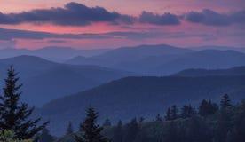 Vista após o por do sol em Great Smoky Mountains fotografia de stock