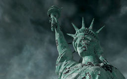 Vista apocalíptico Estátua da liberdade velha na tempestade 3d rendem Fotografia de Stock