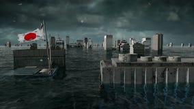 Vista apocalittica dell'acqua inondazione urbana, bandiera del Giappone tempesta 3d rendono illustrazione di stock