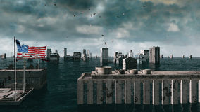 Vista apocalittica dell'acqua inondazione urbana, bandiera dell'America U.S.A. tempesta 3d rendono Fotografie Stock Libere da Diritti