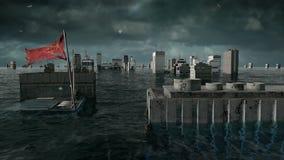 Vista apocalittica dell'acqua inondazione urbana, bandiera della Cina tempesta 3d rendono illustrazione vettoriale