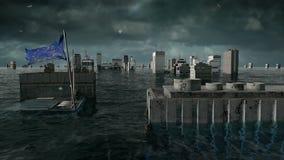 Vista apocalittica dell'acqua inondazione urbana, bandiera di Europa tempesta 3d rendono illustrazione vettoriale