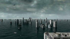 Vista apocalittica dell'acqua inondazione urbana tempesta animazione 3D illustrazione vettoriale