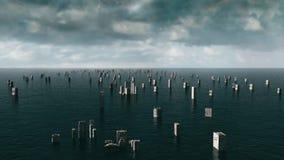 Vista apocalittica dell'acqua inondazione urbana tempesta 3d rendono Fotografia Stock Libera da Diritti