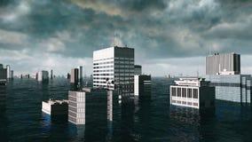 Vista apocalittica dell'acqua inondazione urbana tempesta 3d rendono Immagini Stock Libere da Diritti