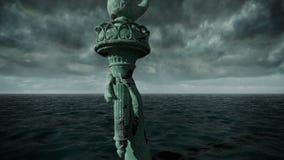 Vista apocalittica dell'acqua Vecchia statua della libertà in tempesta animazione 3D illustrazione vettoriale