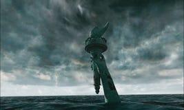Vista apocalittica dell'acqua Vecchia statua della libertà in tempesta 3d rendono Fotografie Stock