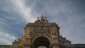 Vista a Arco a Dinamarca Rua Augusta, Lisboa, Portugal fotos de stock royalty free