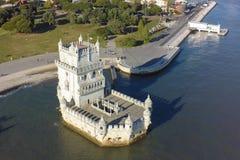 Vista aérea da torre de Belém - Torre de Belém em Lisboa, Portugal Foto de Stock Royalty Free
