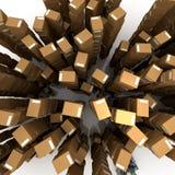 Vista aérea das caixas nas pilhas Foto de Stock