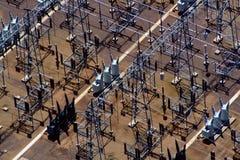 Vista aérea das linhas eléctricas Fotos de Stock Royalty Free