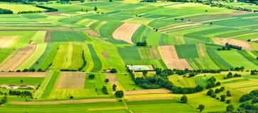 Vista aérea de campos verdes Fotos de archivo