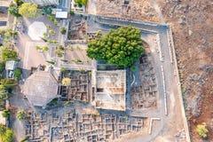 Vista aérea de Capernaum, Galilea, Israel Foto de archivo