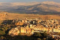 Vista aérea de la ciudad de Fes en la puesta del sol Imágenes de archivo libres de regalías