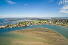 Vista aérea de la ciudad de la pesca Fotos de archivo libres de regalías