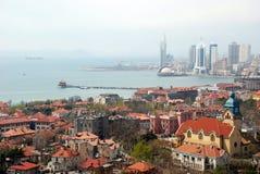 Vista aérea de la ciudad vieja en qingdao Fotos de archivo libres de regalías