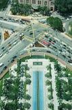 Vista aérea de la intersección del camino Imagen de archivo