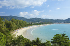 Vista aérea de la playa de Kamala Foto de archivo libre de regalías