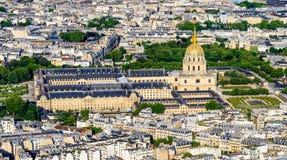 Vista aérea de Les Invalides de Eiffel Towe Imagen de archivo libre de regalías