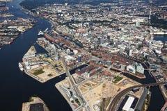 Vista aérea de los distritos de Speicherstadt y de Hafencity en Hamburgo Imagen de archivo libre de regalías