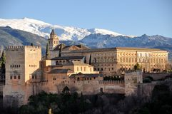 Vista aérea do palácio de Alhambra em Granada Imagem de Stock Royalty Free