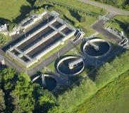 Vista aérea: planta do Água-tratamento Fotografia de Stock Royalty Free